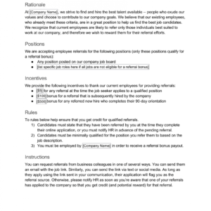 best employee referral email template excel