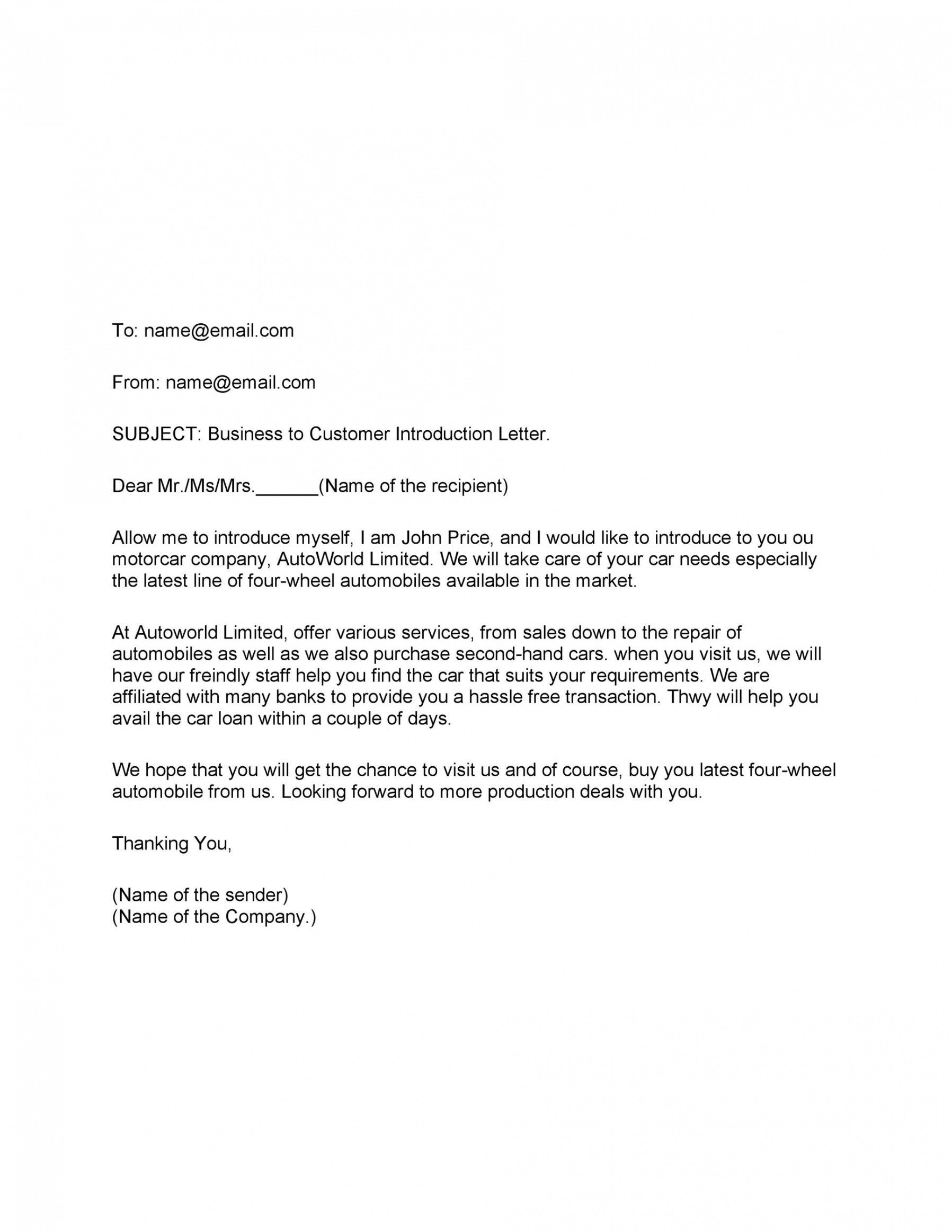 editable company introduction email template word