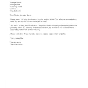 free two weeks notice email template excel sample