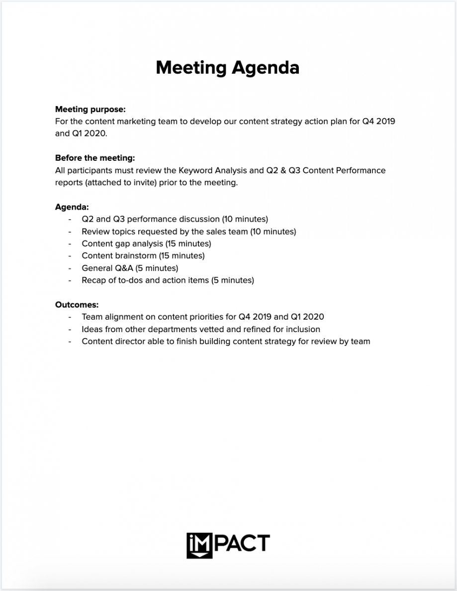 professional meeting summary email template excel