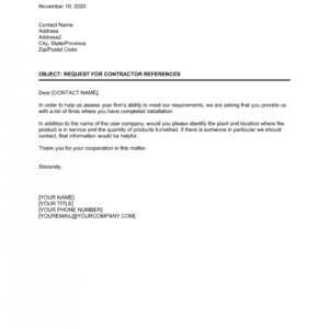 professional reference request email template pdf example