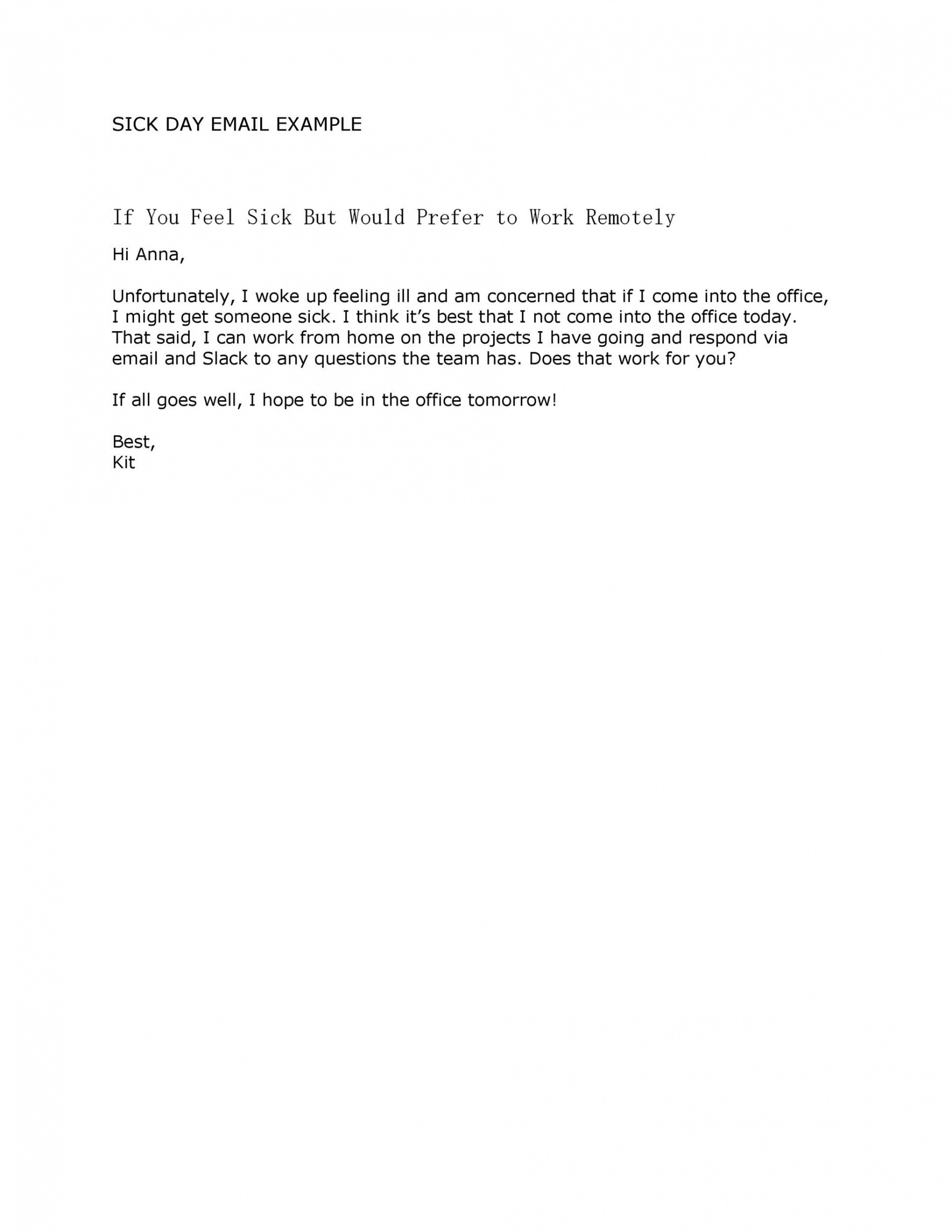 professional working from home email template pdf