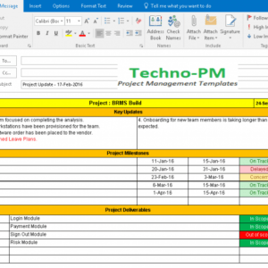 editable project status report email template pdf example