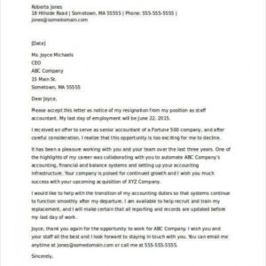 professional resignation announcement email template doc example