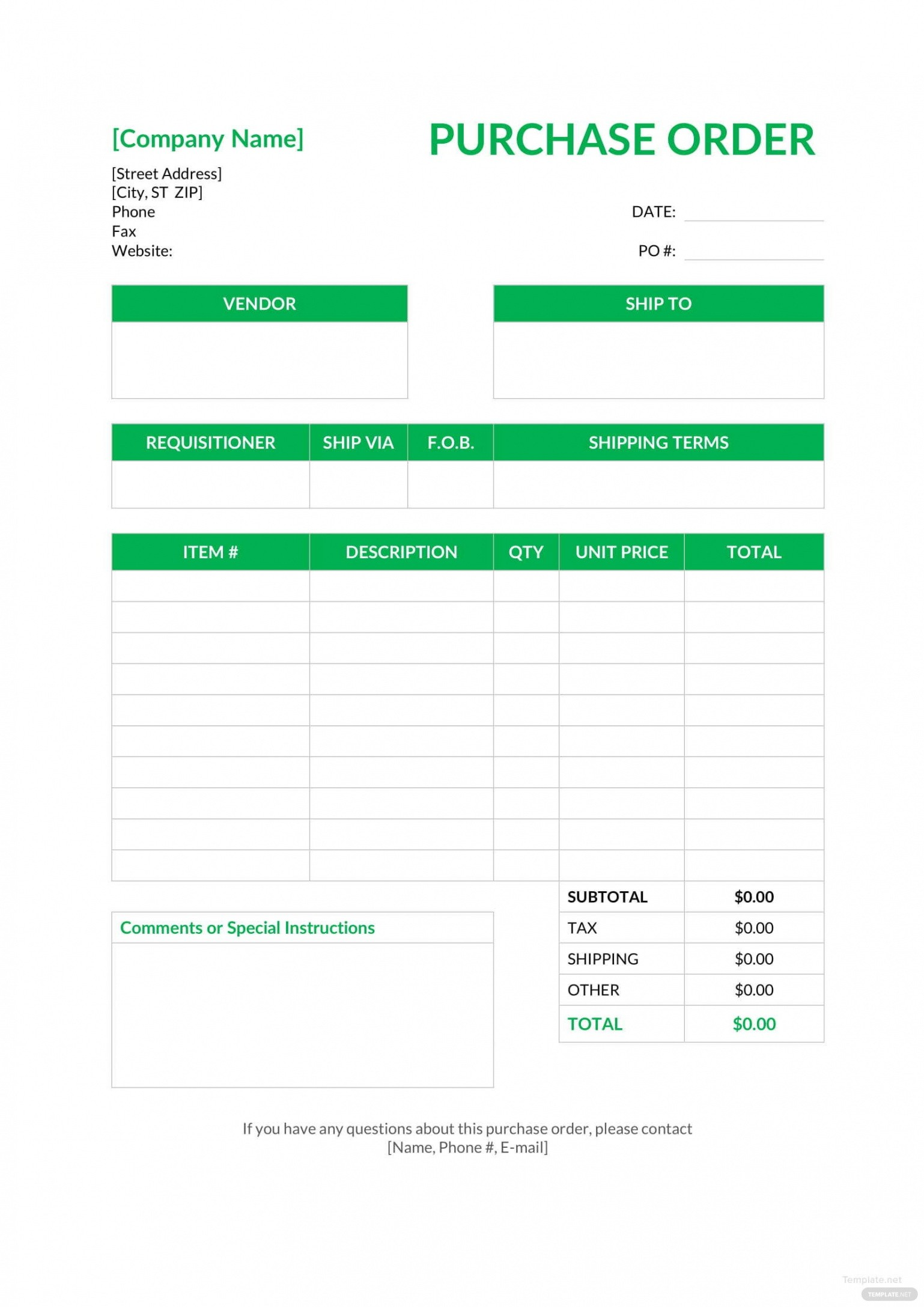purchase order email template word