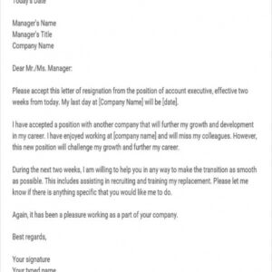 resignation announcement email template doc example