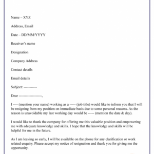 resignation announcement email template excel