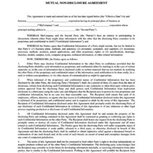 best non disclosure agreement email template doc