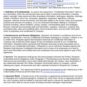 costum non disclosure agreement email template doc sample