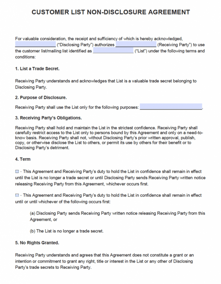 non disclosure agreement email template  sample
