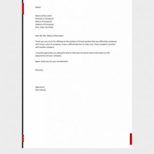 costum email template for turning down job offer word