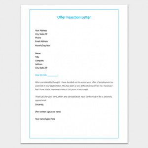 free email template for turning down job offer excel