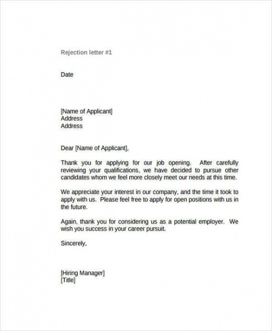 free email template for turning down job offer word example