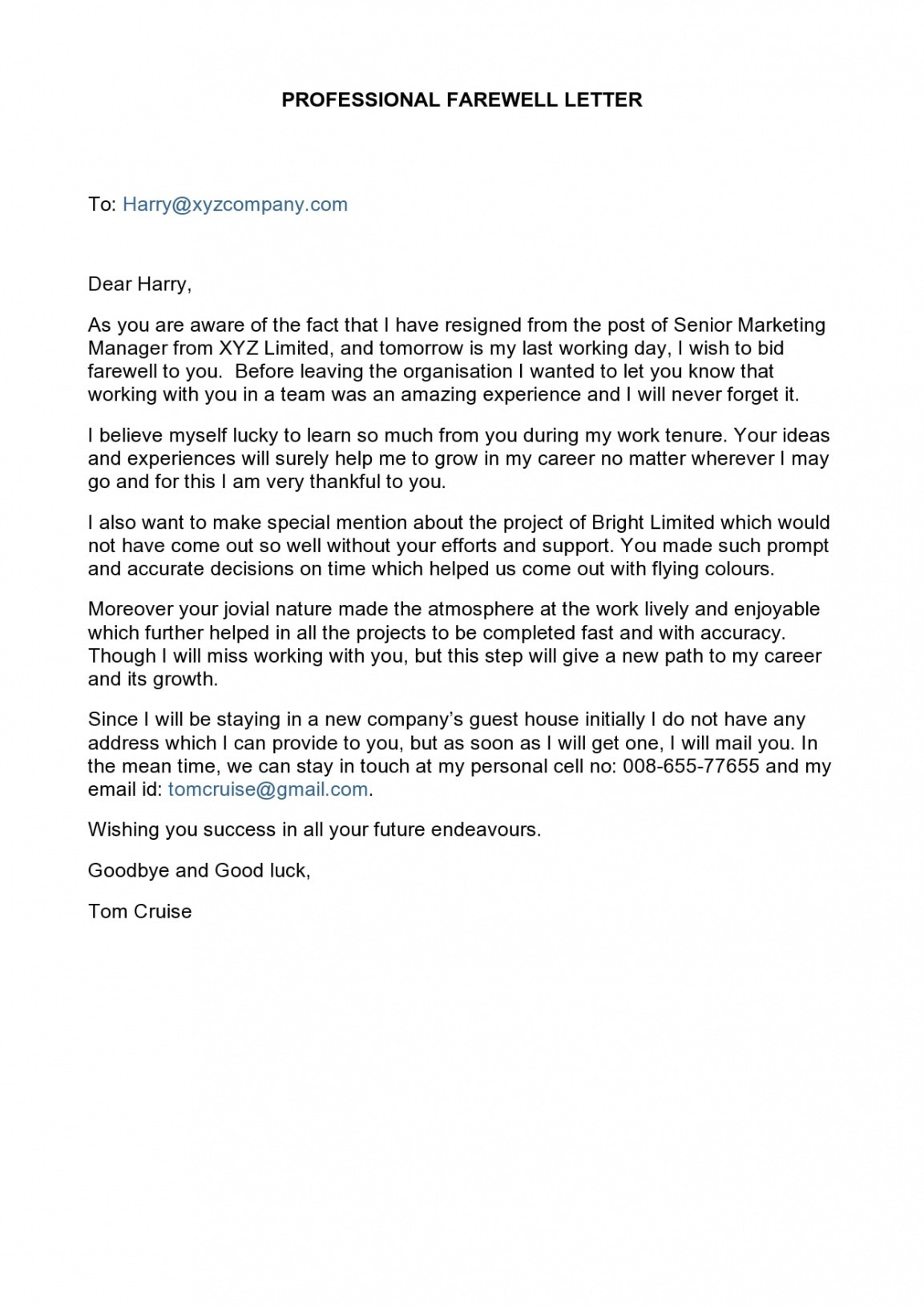 free last day at work email template doc