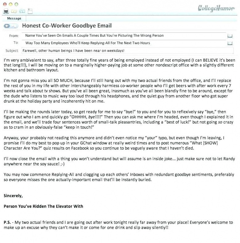 free last day at work email template  example