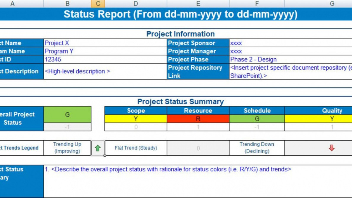 free project status update email template doc sample