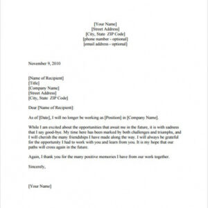 last day at work email template doc example