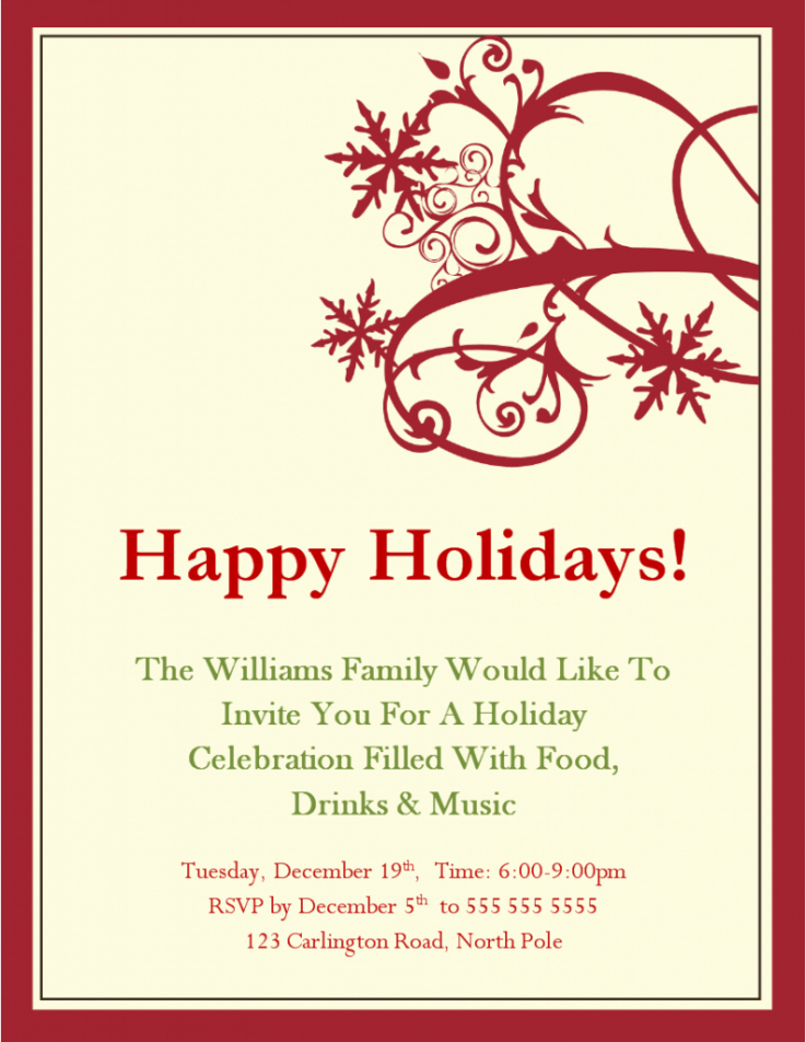 professional holiday party email invitation template pdf sample