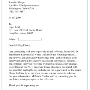 reference check request email template word example